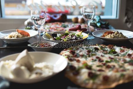 italian food pizza salads and snacks