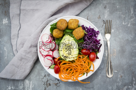 plate of falafel and salad