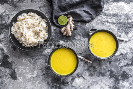 curcuma coco soup rice bowl ginger