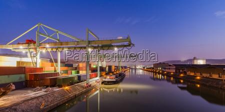 germany stuttgart neckar container harbor at