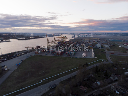 industrial port with containers shipping cargo