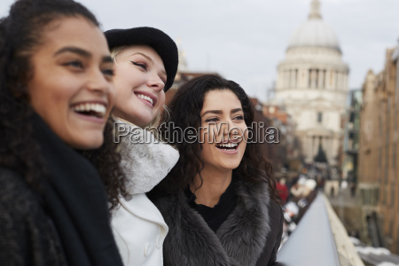 group of young female friends visiting