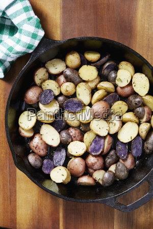 close up of roasted potatoes in