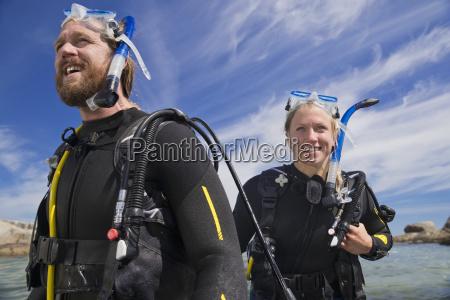 portrait of happy scuba diver man