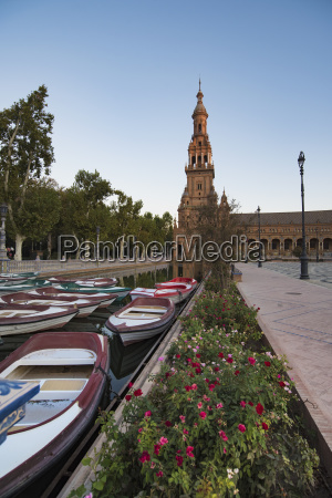 spain andalusia seville rowboats moored in