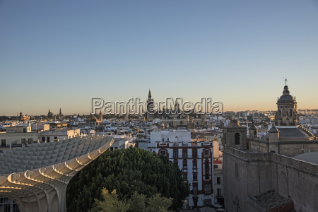 spain andalusia seville cityscape in sunlight