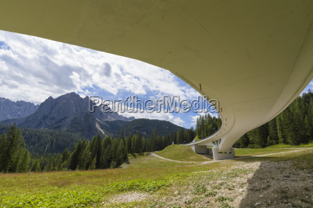 view from underneath bridge overpass in