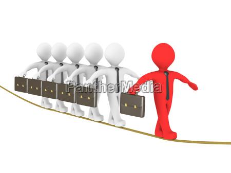 leader of 3d businessmen on a