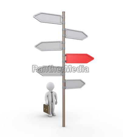 3d businessman searching for the right
