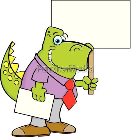 cartoon illustration of a dinosaur wearing
