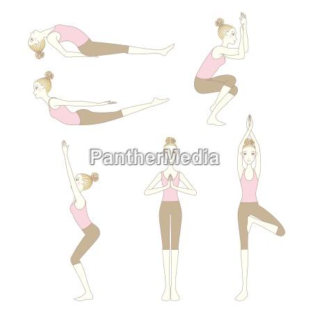 set of yoga poses isolated on