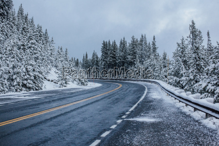 view of road amidst snow covered