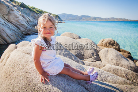 happy little girl summer seascape