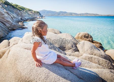 happy little girl summer seascape