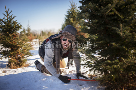 happy man cutting christmas tree on