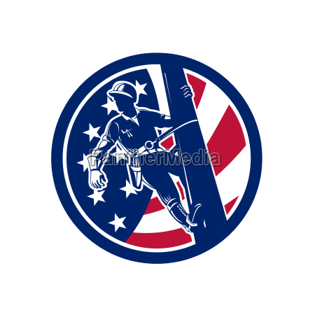 american lineworker usa flag icon