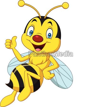 cartoon happy bee giving thumbs up