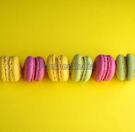 colored baked cakes of almond flour