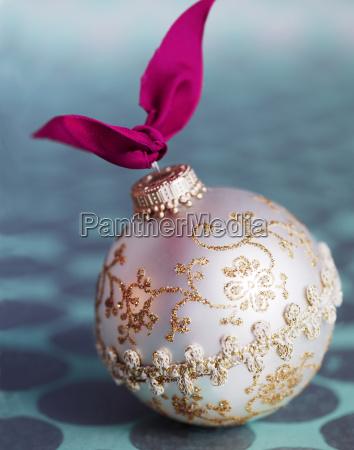 christmas ornament on table