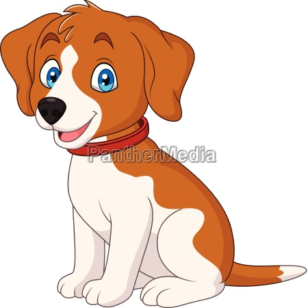 cartoon cute dog wearing a red