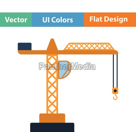 flat design icon of crane