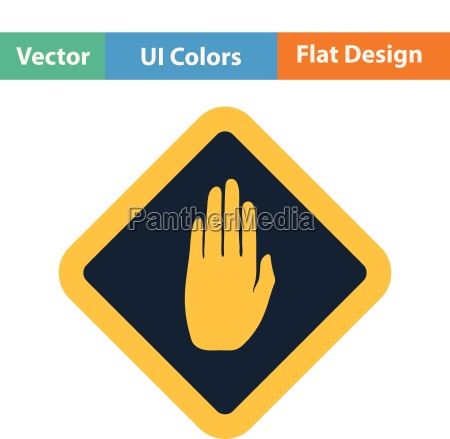 flat design icon of warning hand