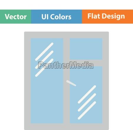 flat design icon of closed window