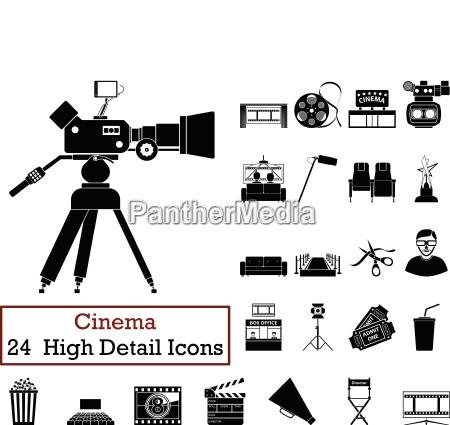 set of 24 cinema icons