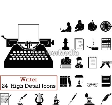 set of 24 writer icons