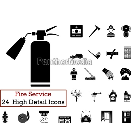 set of 24 fire service icons