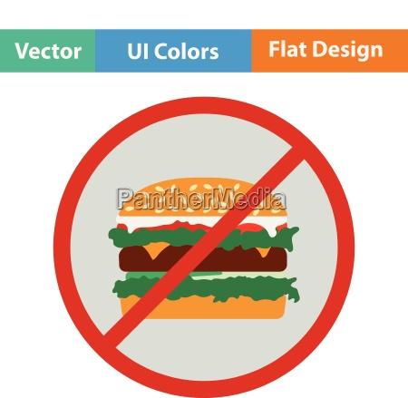 flat design icon of prohibited hamburger