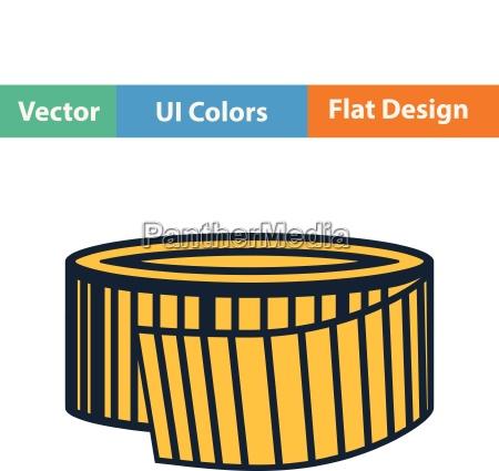 flat design icon of measure tape