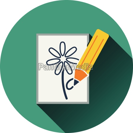 flat design icon of sketch with