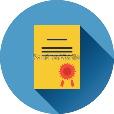 flat design icon of diploma in