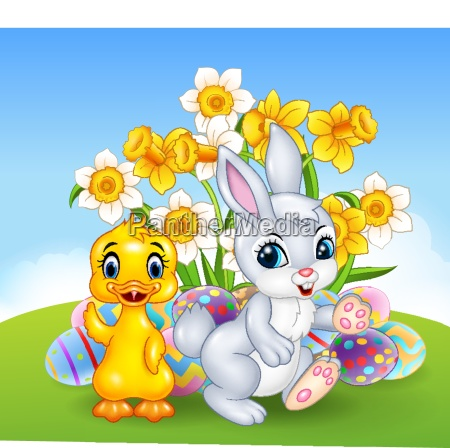 cartoon happy duck and bunny with