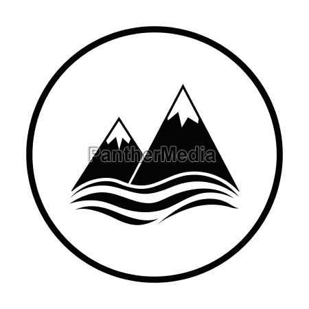 snow peaks cliff on sea icon