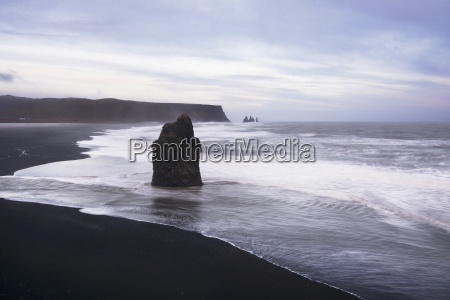 scenic view of vik beach against