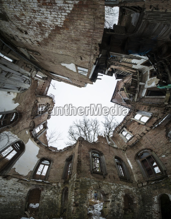 low angle view of old abandoned