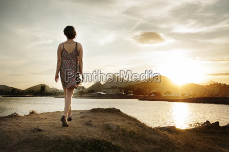 rear view of woman walking on
