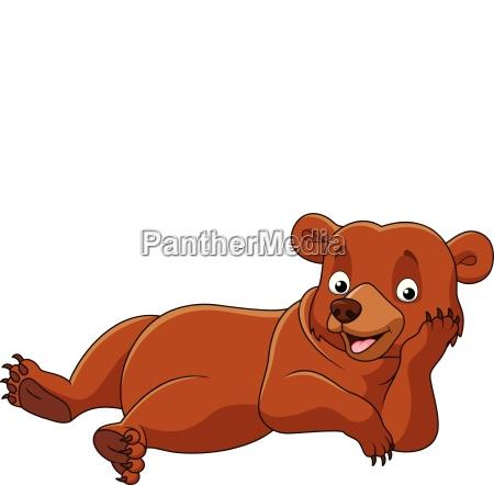 cartoon bear lazy isolated on white