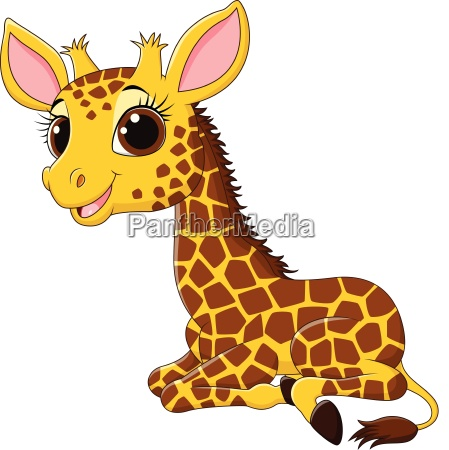 cartoon funny giraffe mascot isolated on