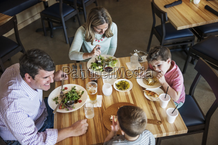 overhead view of family eating food