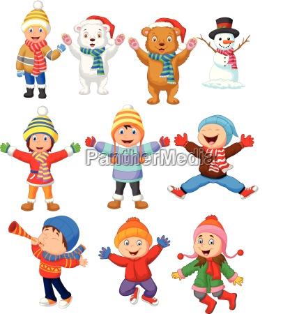 little kids wearing winter clothes