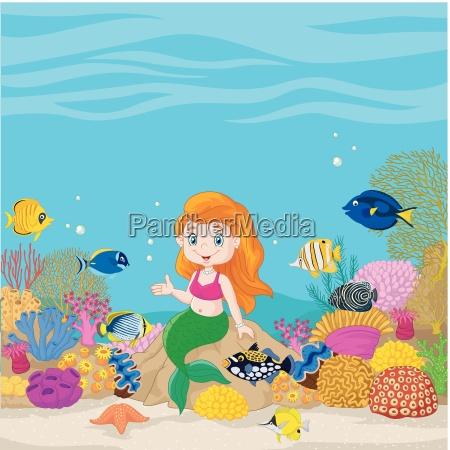 cute mermaid presenting in the underwater