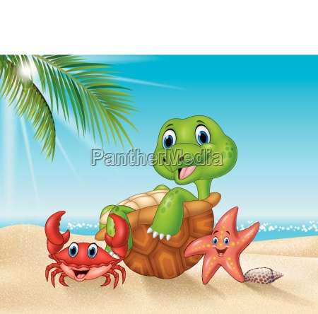 cartoon sea animals relaxing on the