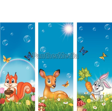 set of tree funny animal with