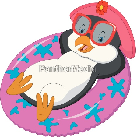 cartoon female penguin relaxing on inflatable