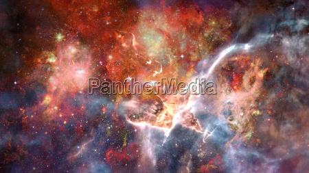 starry deep space nebula and