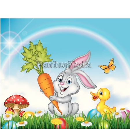 spring nature background with rabbit and