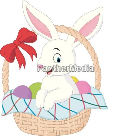 cartoon rabbit sitting in a bucket